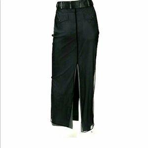 GUCCI TOM FORD  Mesh & Graphite Crepe Pencil skirt